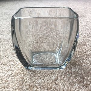 Heavy clear glass square vase/dish